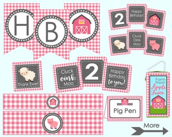 Pink Farm Birthday Party Decoration Package. Instant Digital Download. Pink Farm Party Decorations. Cluck, Oink, Moo. Pink & Gray Farm Party