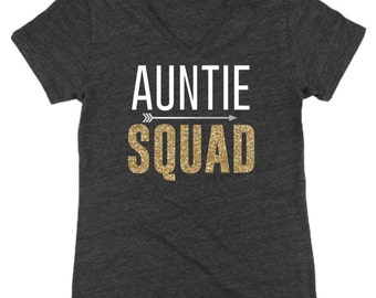 Auntie Squad Relaxed V-Neck Tee, Auntie, Best Aunt Ever, New Aunt, Soon to Be Aunt | #1149