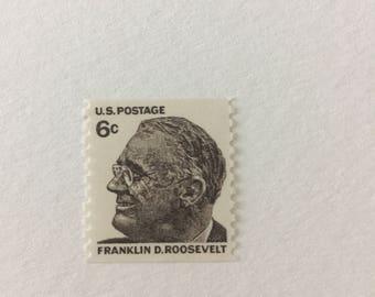 10 Franklin D. Roosevelt 6c US postage stamps unused - Vintage 1966 - FDR rustic sepia president historical New York