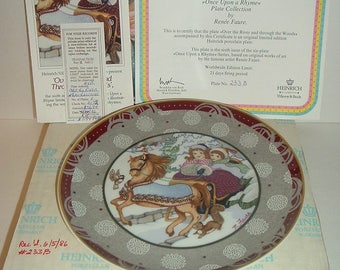 1986 Heinrich W Germany Villeroy and Boch Over The River and Through The Woods Plate w Box COA