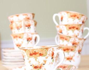 Antique vintage floral bone china two teacup saucer set