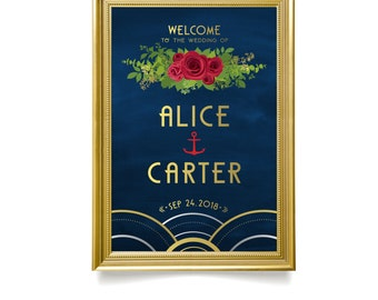 The ALICE Nautical . Welcome Ceremony Sign Print or PDF . Red Rose Foliage Wedding Anchor Navy Waves Art Deco Great Gatsby 1920s Gold Silver