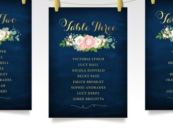 The JENNY . Seating Chart Cards . Peony Pink Ranunculus Garden White Rose Dusty Miller Gold Calligraphy Navy . Wedding Table Guest Name sign