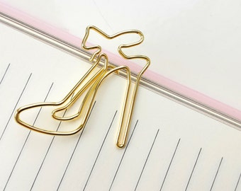 Set of 4 high heels paperclips - shiny gold