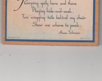 """Unique Postcard-Like Placque On Wood-2 Scottie Dogs-Poem Entitled """"Playmates""""  Ring For Hanging-Must Read And See"""