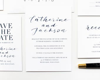 Navy Watercolor Calligraphy Wedding Invitation Suite / Simple / Brush Lettered / Modern / Printable Wedding Invitation / Save the Date