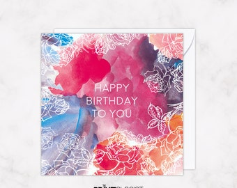 Floral Birthday card, Contemporary Greetings