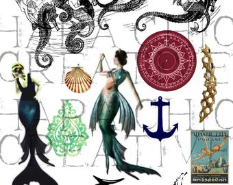 Mischievous Mermaids   Digital Collage Sheet  Mermaid ClipArt   clip art   altered art  mermaid clipart   mythical creatures  nautical