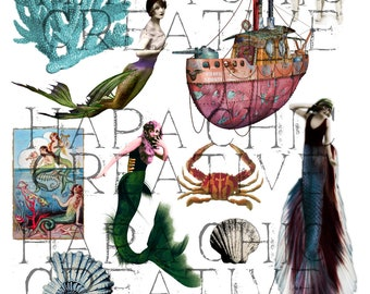 Let's Be Mermaids  Digital Collage Sheet  Mermaid  altered art  ocean clipart nautical clip art  digital art  printable art  vintage