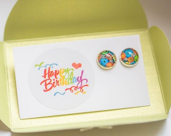 Silver Studs Earrings  colorful lively, happy birthday studs, thank you posts, Jewelry Woman, Cabochon Earrings, sticker thank you