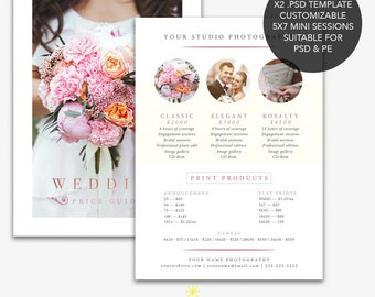 Rose Gold Wedding Photography Mini Session Price Guide Photoshop Template Marketing Pricing