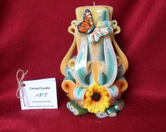 "Butterfly Candle - Carved Candle - 7"" Hand Carved Candle Butterfly Theme - Yellow - Gift Idea - Spring Design - Home Decor - Refillable"