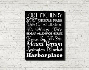 Baltimore Neighborhoods Subway Sign - Typography Print - Modern Home Decor - Art Poster Wall Art Aged Vintage Finish