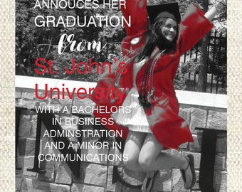 College Graduation Invitation- Black and White with Pop of Color- Digital File- 5 x 7
