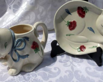 Vintage 2 Matching Pieces of Poppies on Blue by Lenox 1 Flat Dish of Sleeping Cat and 1 Cat Holder for Spoons , Knives or Forks