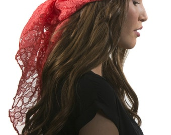 Coral Lace Head Scarf