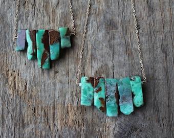 Chrysoprase Stone Bib Necklace- Gold