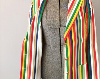 Mod Jacket Womens Striped Blazer Retro 60s