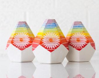 MADE TO ORDER - Geometric Bud Vase - Stripe Pattern