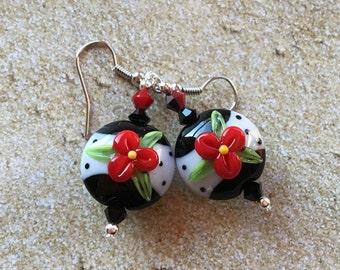 Mothers Day Gift,Beaded Dangle Earrings, Beaded Earrings, Lampwork Flower Earrings,  Floral Earrings, Glass Earrings,  SRA Lampwork Earrings