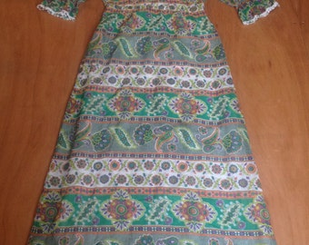 1970s Maxi dress, folk,boho, Arts & Crafts style size 10 (uk)