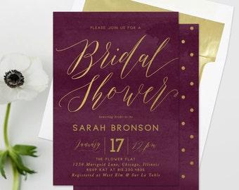 Burgundy Bridal Shower Invitation - Modern, Wine, Marsala, Maroon, Cranberry Red & Gold Invite - Sarah