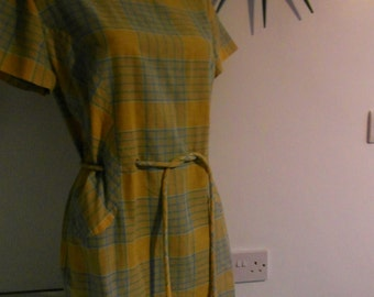 Vintage 1960's Plaid check Mustard Work Dress
