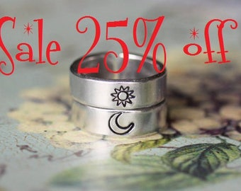 Sale 25% off Sun And Moon Ring Set, Simple Couples Rings, Friendship Gift Rings, Custom Personalized Hand Stamped Aluminum Ring