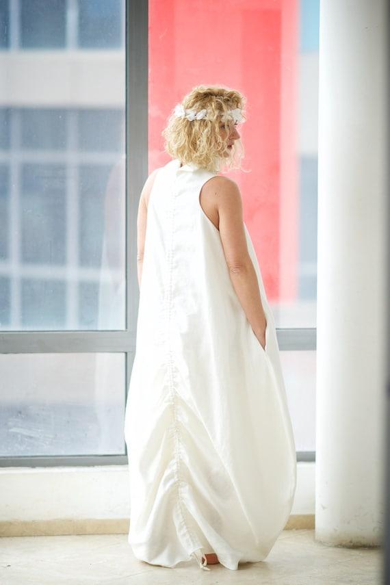 Plus Size Linen Clothing Boho Wedding Dress White Linen