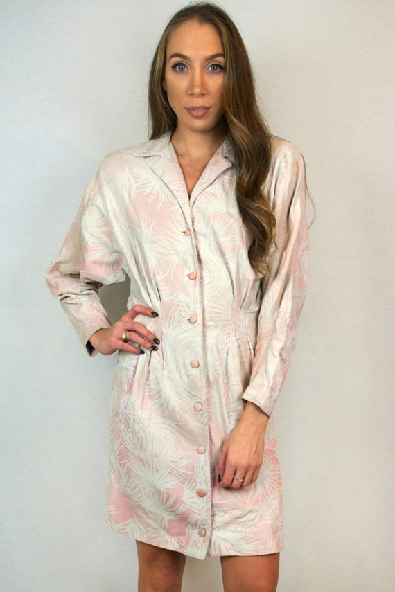 Vintage Pink Suede Leather Button Down Long-Sleeve Collared White Palm Leaf Print Midi Shirt Dress + FREE GIFT with Purchase