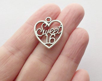 25 Sweet 16 Charms - Sweet 16 Pendants - Heart Charms - Heart Pendants - #S0301