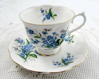 Royal Albert Forget-Me-Not Tea Cup and Saucer, Vintage Bone China