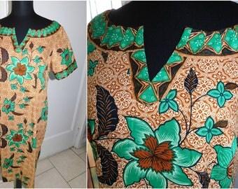 Vintage Hawaiian Tiki Dress Tiki Hawaiian Ethnic Polynesian Shift Dress Islander Hawaii Dress Med/Large