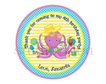 "Custom Cute Octopus Thank you Tags- 2.5"" Printable Summer theme Tags- Personalized Colorful 2.5"" Circle Tags- Digital file"