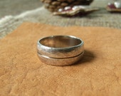 Silver Split-Barrel Broad Ring. Wide Textured Rustic Ring. Great Christmas Gift
