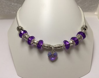 Necklace charm's, purple, with Crystal and Crystal ref 830 heart beads
