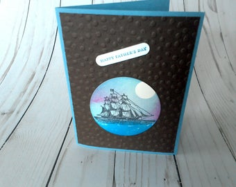 Father's Day Card, Happy Father's Day, Nautical Dad Card, Masculine Card, Paper Greeting, Handmade Card, Card for Dad