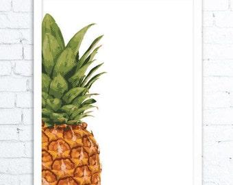 Tropical Art, Tropical Decor, Pineapple wall art, pineapple decor, Water Color, Pineapple Print, Pineapple Artwork, Pineapple Decor