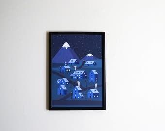 Mountain Town illustration print A4 -  Home decor - Mountain - Mountain Town illustration - wall art