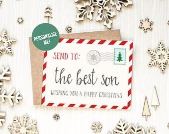 Christmas Card For Son, Santa Post Card, Best Son Christmas Card, Xmas Card Son, Personalised Christmas Card For Son, Grandson Christmas