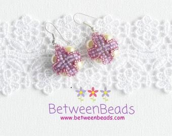 Yellow Pearls, Glass Pearls Earrings, Medium Size, Gift Ideas, Drop Earrings, Women Jewelry, Fashion Jewelry, Cross Beads