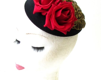 Red Rose Pheasant Feather Flower Pillbox Hat Fascinator 1950s Black Brown 1993