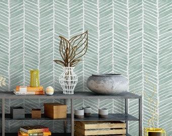 Watercolor Herringbone / Aqua // Removable Peel 'n Stick Wallpaper