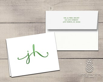 Letterpress Foil Thank You Cards & Envelopes - Wedding Monogram - Custom Stationery Fold Over Note Cards