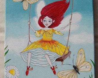 Spring Fairy, Original acrylic painting. (Size: 21 x 27cm)