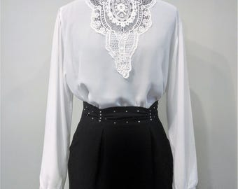 Vintage 1980's White Lace Front 100% Georgette Polyester Blouse With High Collar