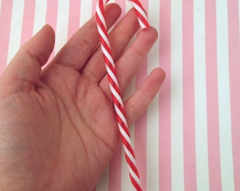 2 Large Acrylic Candy Canes, Cute Fake Peppermint Cabochons