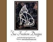 Cat Silhouette Art Quilt Pattern HARD COPY Mailed Right to You