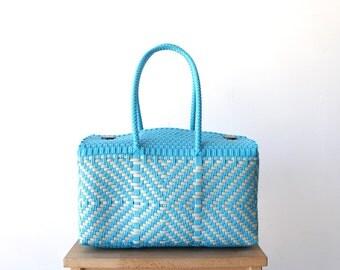 Light blue Chevron Hand Woven Mexico Bag, Oaxaca Tote, Mexican Plastic Bag, Mexican Basket, Mexican Art, MexiMexi, Picnic Basket