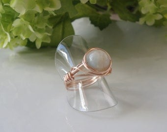 Artisan ring, made in quebec, amazonite stone, coiled wire,